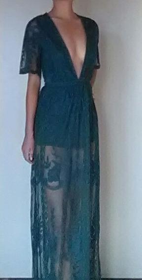 Vestido Largo Sexy De Encaje Escote En V