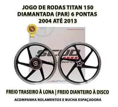 Jogo Roda Liga Leve Titan 150 Scud Diamantada 6p Freio Disco