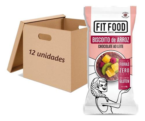 Imagem 1 de 2 de 12x Biscoito De Arroz Com Chocolate Ao Leite Fit Food 70g