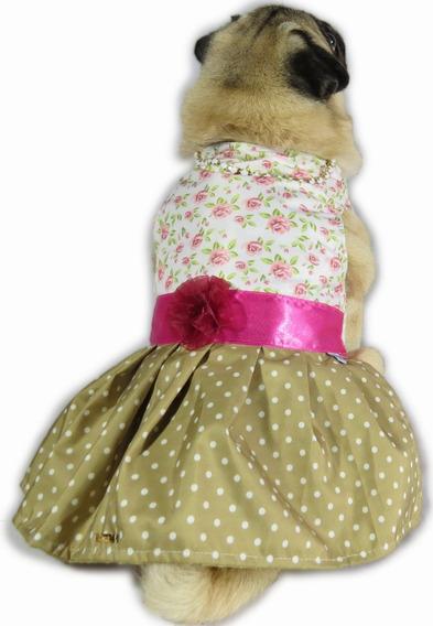 Vestido Para Cachorro/gato Florido Fashion Marrom + Colar