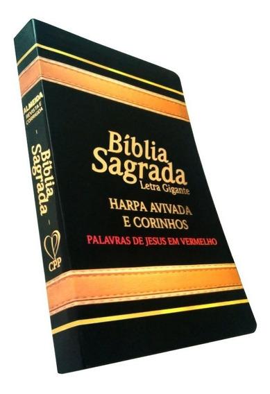 Bíblia Sagrada C/ Letra Gigante Harpa E Palav Jesus Vermelho