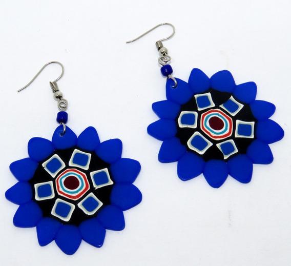 Brinco Feminino Mandala Azul - Produto Nacional De Qualidade