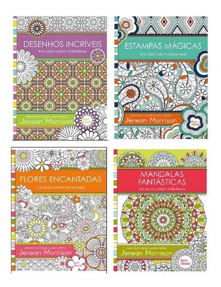 4 Livros Anti Stress Para Colorir - Jenean Morrison