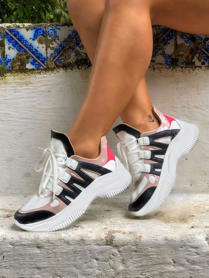Tênis Casual Chunky Sneaker Sola Alta Flatform Inspirations
