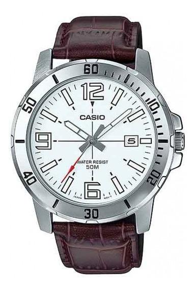 Relógio Casio Masculino Prata Pulseira Couro Marrom + Nf