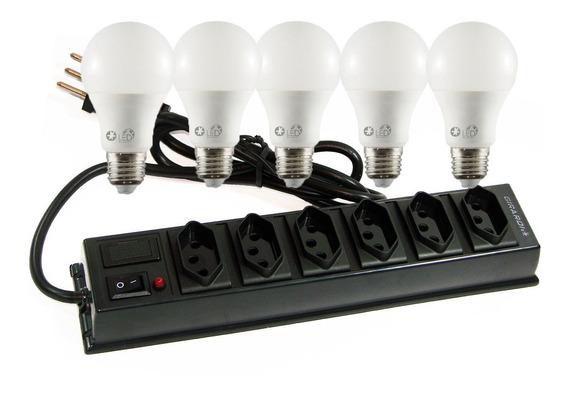 Kit Iluminação - 5 Lâmpadas Led 12w E Filtro De Linha