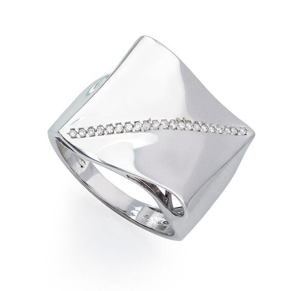 Anel De Ouro Branco 18k Quadrado Concâvo Com Diamantes An338