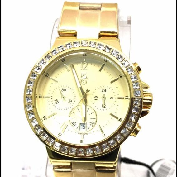 Relógio Original Dourado Com Pedras