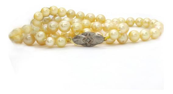 Colar De Pérolas Salgadas Ouro Branco 18k Delicado J22617