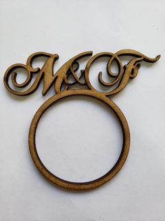 120 Anel Porta Guardanapo Mdf Cru Iniciais Casamento