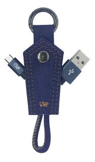 Chaveiro Jeans Com Cabo Micro-usb I2go