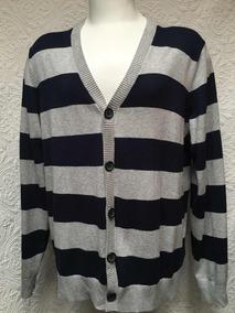 Tommy Hilfiger Sweater Cardigan Azul Gris L (para Xl )