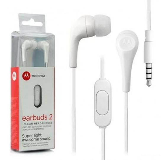 Fone De Ouvido Motorola Earbuds 2 C/ Microfone Branco
