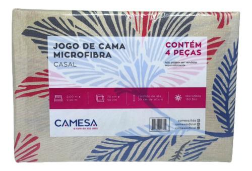 Jogo De Cama Duplo Microfibra Casal 4 Pçs Camesa - Folhas