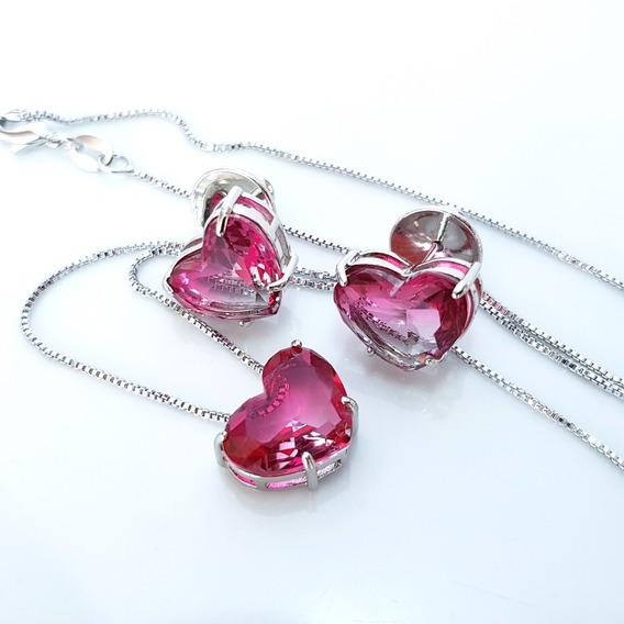 Colar E Brinco Feminino Coração Rosa Turmalina Banho Ouro