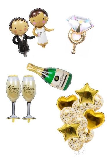Globos Boda Novio Novia Copa Botella De Champagne Anillo