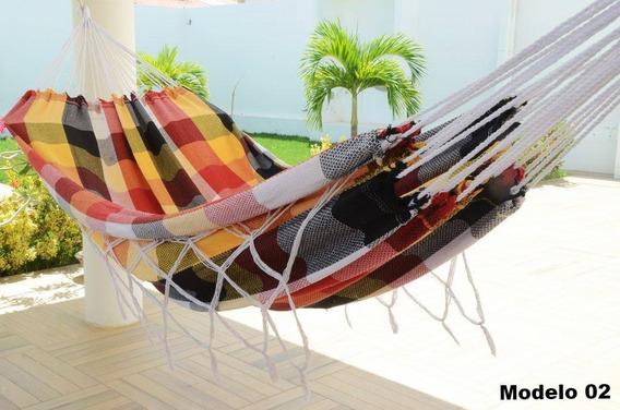 Rede De Dormir Descanso Casal Fustão Luxuosa Colorida