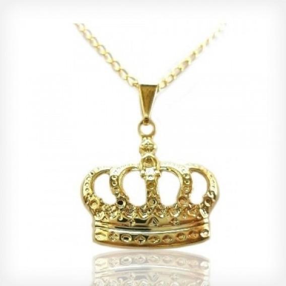 Colar De Coroa Majestade Pingente Folheado A Ouro