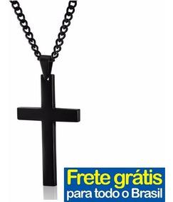 Cordão Crucifixo Corrente Masculino Pingente Cor Preto Homem