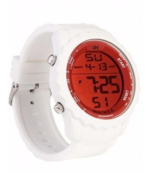 Relógio Masculino Digital 18k Watches Branco Com Vermelho