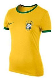 Camisa Nike Brasil Feminina Amarela