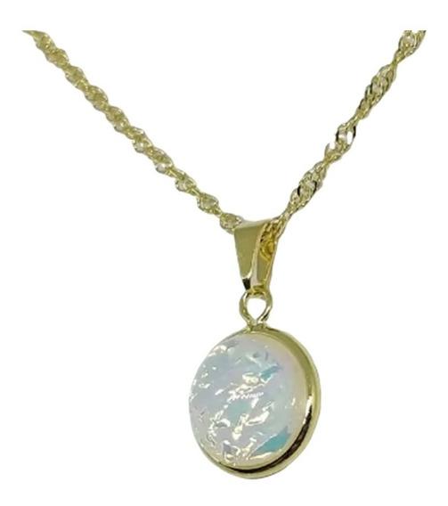 Colar Pingente Pedra Da Lua Folheado Ouro 18k Antialérgicos