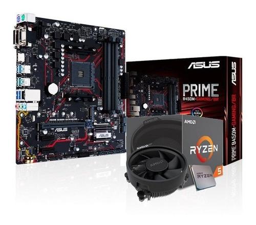 Imagem 1 de 5 de Kit Processador Amd Ryzen 5 2600 Asus Prime B450m-g