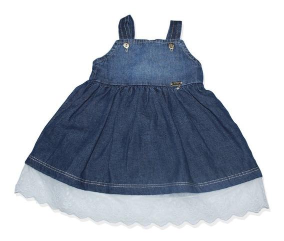Vestido Jeans Com Renda Vaninha Baby