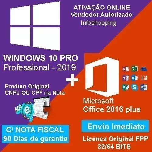 Windows 10 Pro Office 2019 Pro Chave Licença Com Nota Fiscal