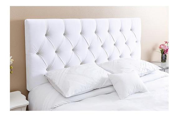 Cabeceira de cama Kasabela Paris Casal 140cm x 58cm Couro sintético branca
