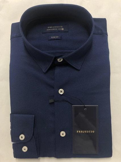 Camisa Azul Manga Larga Algodon Prejuicio