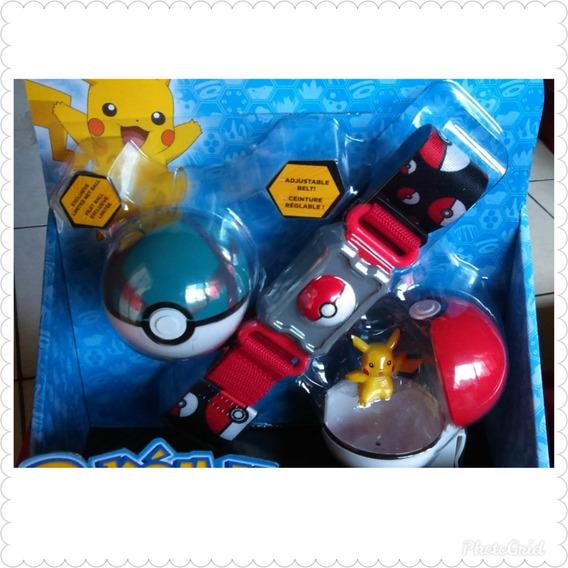 Cinturon Con Pokemon Pikachu 5cm Y 2 Pokebolas 7cm Clip N Go