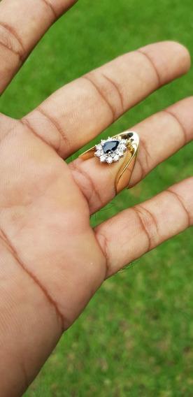 Anillo Dama Diamantes Si1 44 Ptos. Zafiro 40 Ptos. Oro 14 Kt