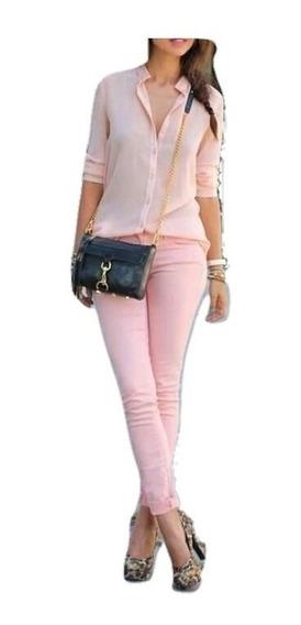 Pantalon Vestir Mujer Chupin Bengalina Elastizado Tiro Alto