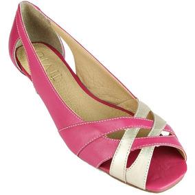 Sapato Peep Toe Feminino Givit Rosa Pink Dourado Salto Baixo