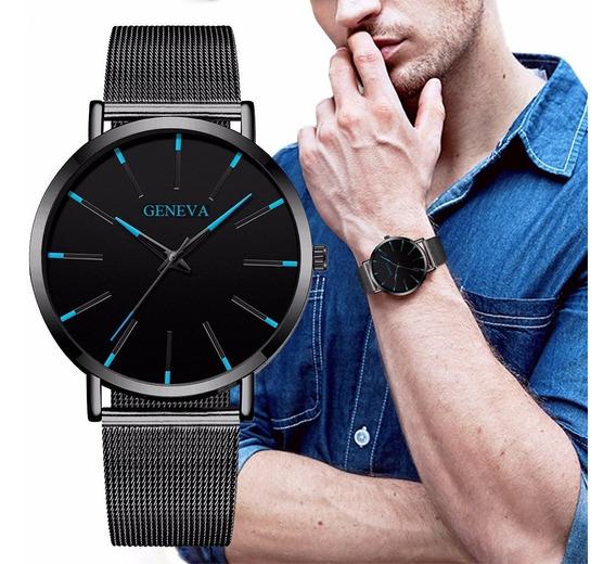 Relógio Luxo Masculino Geneva Estilo Social (preto Com Azul)