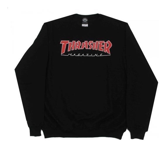Moletom Thrasher Magazine Outlined Crewneck Black - Original