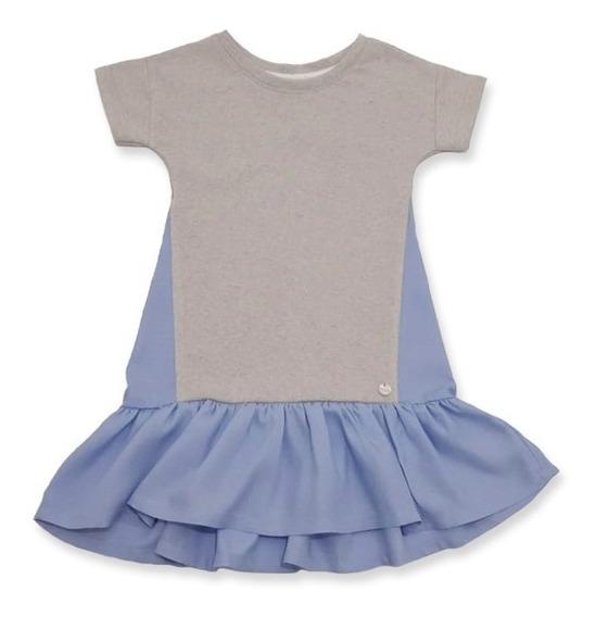 Vestido Nena Manga Corta Niña Gris T: 2 Al 16