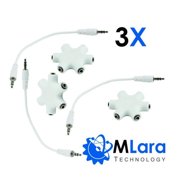 3x Conector Audio Splitter 1 Macho-5 Femea - Frete Gratis!