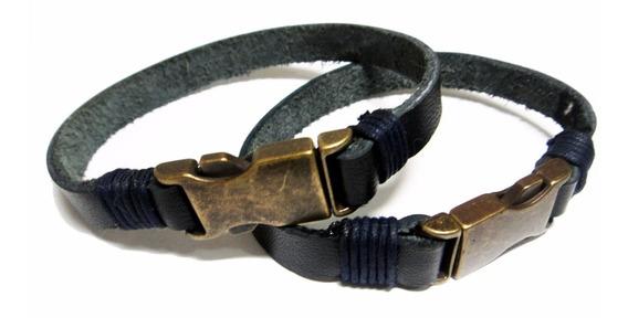 Pulseira Bracelete Masculina Feminina Em Couro E Ouro Velho
