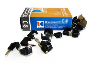 Grampa Clip Coaxil 6mm Clavo Acero Zincado Kalop Caja X50