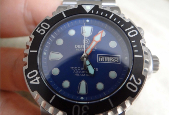 Deep Blue Sea Diver Automático. 1000 Metros! Helium! Safira!