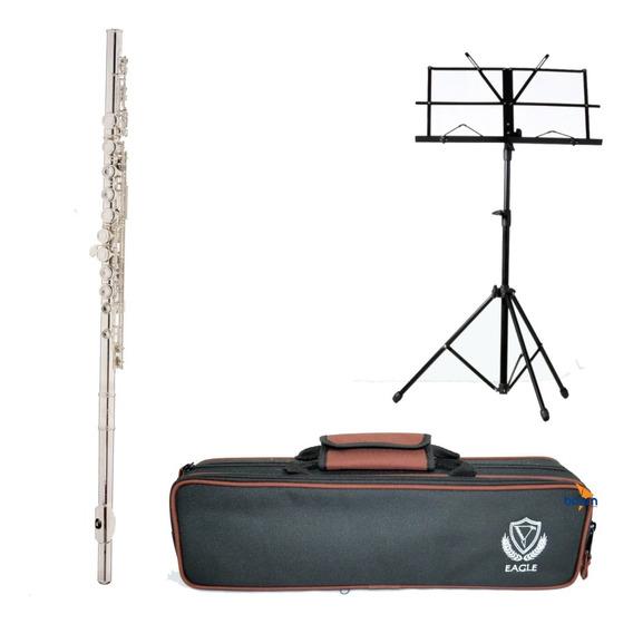 Kit Flauta Transversal Em Dó Prateada Fl03s Eagle + Estante