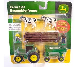 Set Diorama Ertl Granja Vacas Tractor Granjeros Corral