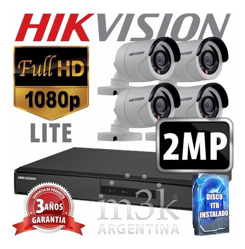 Cuotas Sin Interes! Kit Seguridad Hikvision Full Hd Dvr 8 + Disco Instalado + 4 Camaras 2mp 1080p Exterior Ir + Ip