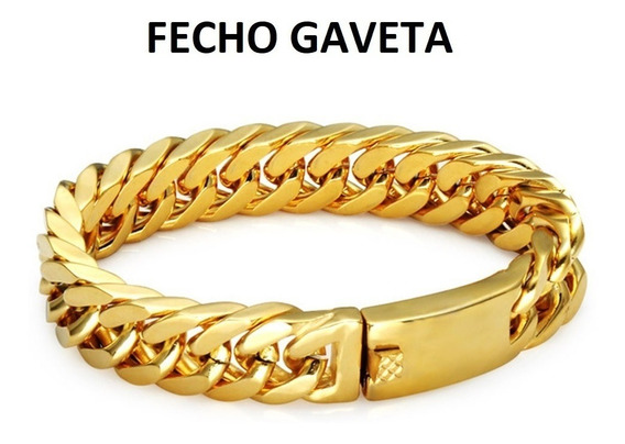 Pulseira Masculina Banhada Ouro Em 24k Cuban 15mm