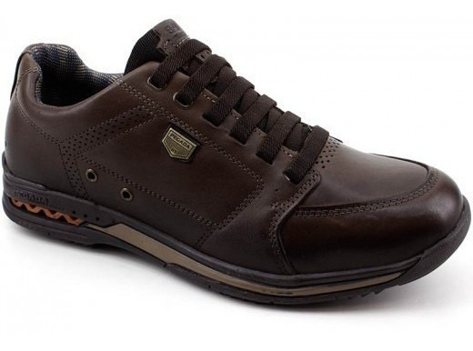 Sapato Tênis Pegada Couro 114854 Marrom Com Elástico