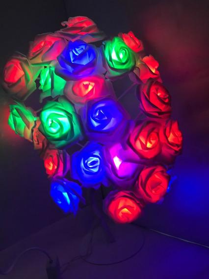Árvore Abajur Led Decoração Flor 24 Rosas Colorido 110v