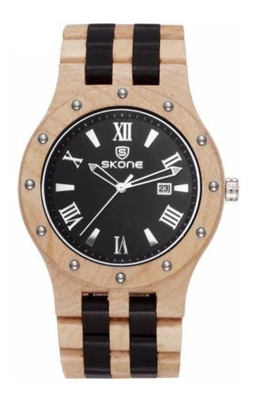 Relógio Masculino Skone Analógico Madeira 7399bg - Pt