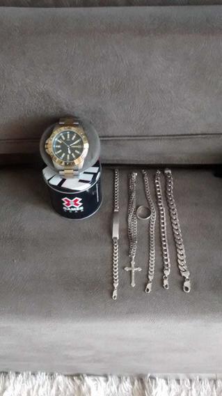 Relógio Original, 1 Cordão,4 Pulseiras E 1 Anel De Prata !